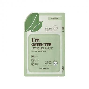 Маска для лица с экстрактом зелёного чая Tony Moly I'm Green Tea Layering Mask Sheet 23 мл (8806194023199)