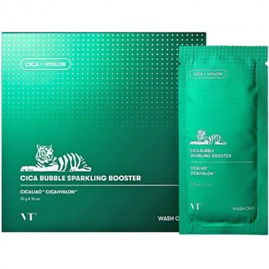Успокаивающая маска-пенка с центеллой VT Cosmetics Cica Bubble Sparkling Booster, 1шт*10г