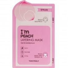 2-х шаговая маска для лица с экстрактом персика Tony Moly I'm Peach Layering Mask Sheet 23 мл (8806194023212)