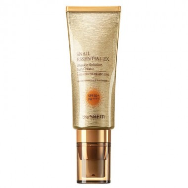 Улиточный солнцезащитный крем The Saem Snail Essential EX Wrinkle Solution Sun Cream SPF50+ PA++++ 40 мл (8806164149584)