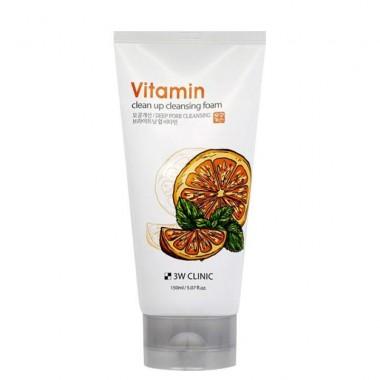 Освежающая витаминная пенка для умывания 3W Clinic Vitamin Clean Up Cleansing Foam 150 мл