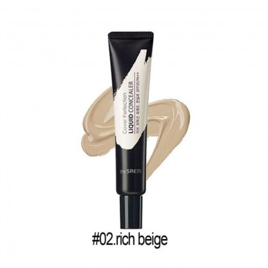 Кремовый консилер для лица с эффектом маскировки пор The Saem Cover Perfection Liquid Concealer 02 Rich Beige (8806164118122)