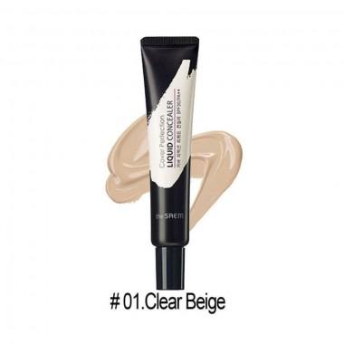 Кремовый консилер для лица с эффектом маскировки пор The Saem Cover Perfection Liquid Concealer 01 Clear Beige (8806164118115)
