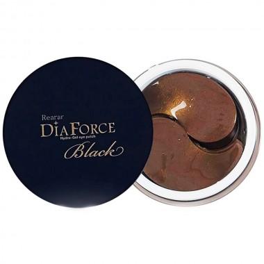 Большие гидрогелевые патчи с золотом и черным жемчугом Rearar DiaForce Hydro-Gel Eye Patch L Black 60 шт (8809389036912)