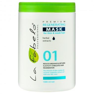 Маска регенерирующая для тонких и слабых волос La Fabelo Premium 01 Regenerating Mask 1000 мл (01490100801)